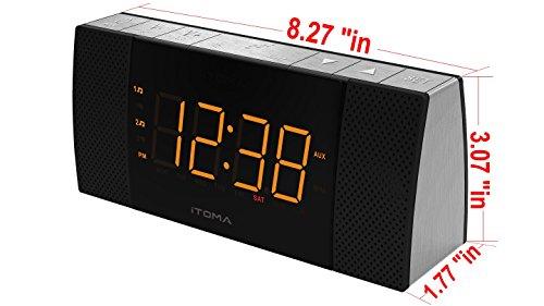 itoma alarm clock radio with bluetooth speakers digital fm radio dual alarm w. Black Bedroom Furniture Sets. Home Design Ideas
