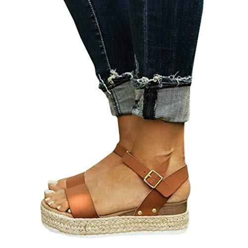 Women's Stylish Comfortable Platformed Wedge Open Toe Adjustable Ankle Strap Low - Ankle Sandals Strap Woven