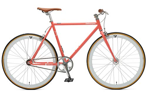 Retrospec Bicycles Mantra V2 Single Speed Fixed Gear Bicycle, Coral,...