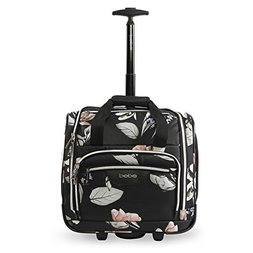 Bebe Womens Valentina Wheeled Under The Seat Carry On Bag  Black Floral
