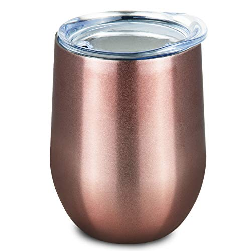 (ONEB Stainless Steel Stemless Wine Glass Tumbler with Lid, 12 oz | Double Wall Vacuum Insulated Travel Tumbler Cup for Coffee, Wine, Cocktails, Wall Vaccum Insulation cup (Rose gold))