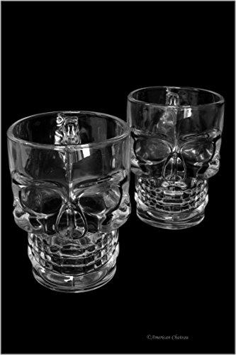 Set 2 Large 18.5oz Clear Glass Skull Pilsner Pub Pint Halloween Beer Glass Mugs