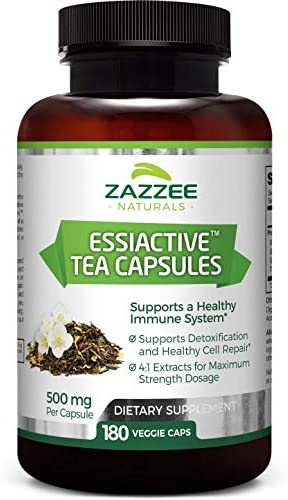Zazzee Essiac Tea, 180 Veggie Capsules, 500 mg per Capsule, Potent 4 1 Extract, Vegan, Non-GMO and All-Natural, Rene Caisse s Original Formula