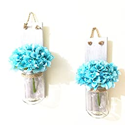 Wood Wall Sconce Hanging Wall Candle Holders Set of 2, Silver Color Mason Jar Wall Sconce Rustic Home Decor (With blue flower)