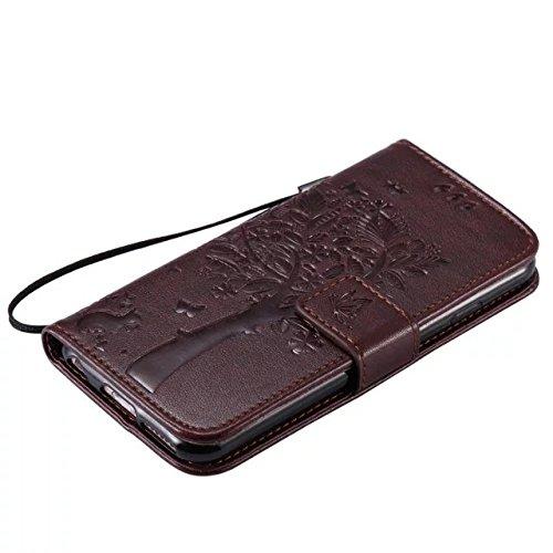 Solid Color Premium PU-Leder-Etui Prägung Muster Flip-Standplatz Fall Deckung mit Karte und Bargeld Schlitze für iPhone 6 6s 4,7 Zoll ( Color : Brown )