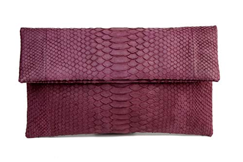 (Genuine Maroon Python Leather Classic Foldover Clutch Bag)