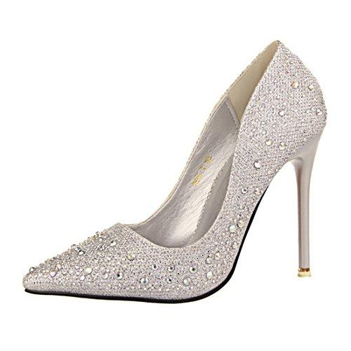HBOS Damen Pumps Stylish Zart Elegant Schlank Dünn Spitz Diamant-Schuhe Silber