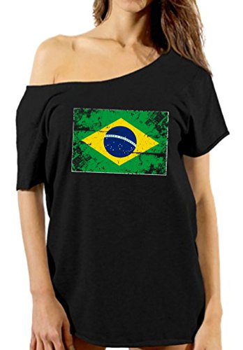 Vizor Brazil Flag Off Shoulder Shirt Brazilian Football Shirt Gifts from Brazil Black 2XL