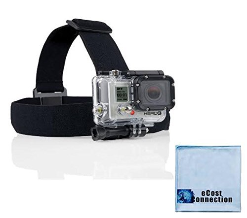 Head Strap Mount for ALL GoPro HERO Cameras + an eCostConnection Microfiber Cloth