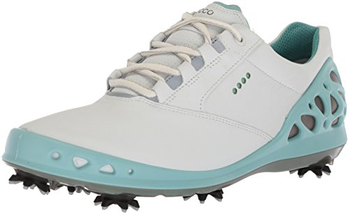 Gore Tex Golf - ECCO Women's Cage Gore-Tex Golf Shoe, White/Aquatic, 39 M EU (8-8.5 US)