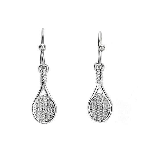 GIMMEDAT Tennis Racket Earrings - Tennis Racket Silver Dangle Earrings