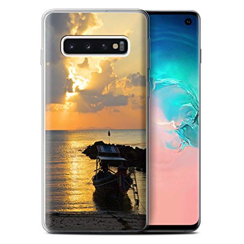 eSwish Gel TPU Phone Case/Cover for Samsung Galaxy S10 / Boat/Sunrays Design/Thailand Scenery Collection ()