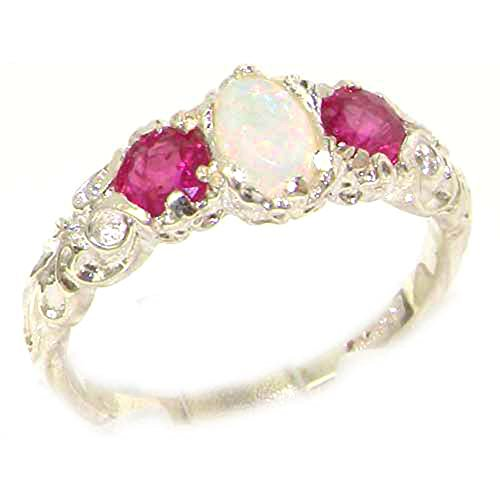 Estate Ruby Ring - 925 Sterling Silver Real Genuine Opal and Ruby Womens Band Ring - Size 10