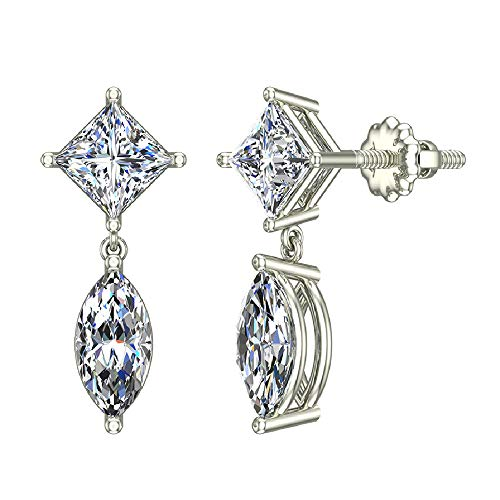 - 1.82 ct tw Princess & Marquise Drop Two stone Diamond Dangle Earrings 18K White Gold