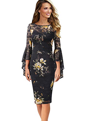 VFSHOW Womens Floral Print Ruffle Bell Sleeves Cocktail Party Sheath Dress 1685 FLW XXL