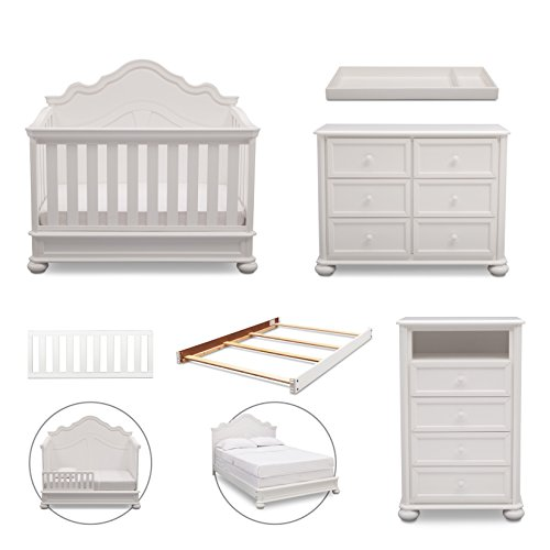 Simmons Kids Peyton 6-Piece Nursery Furniture Set (Convertible Crib, Dresser, Chest, Changing Top, Toddler Guardrail, Full Size Conversion), Bianca White by Delta Children (Image #1)