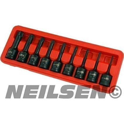 Impact Bit Socket Set Spline 9pc M4-M16 1/2 Inch Drive Neilsen