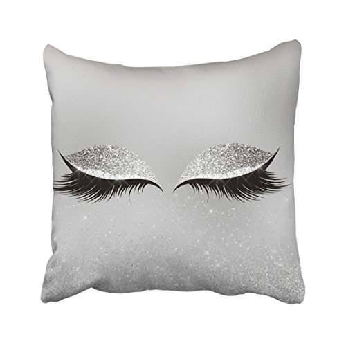 Emvency Square 18x18 Inches Decorative Pillowcases eye silver gray glitter black glam makeup eyes beauty lumbar pillow Cotton Polyester Decor Throw Pillow Cover With Hidden Zipper For Bedroom Sofa