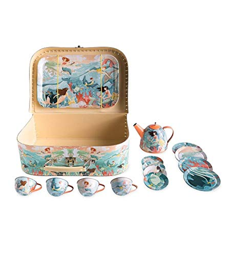 HearthSong Mermaid Metal Tin Tea Service Set for Kids, 15 Pieces with Carrying Case...