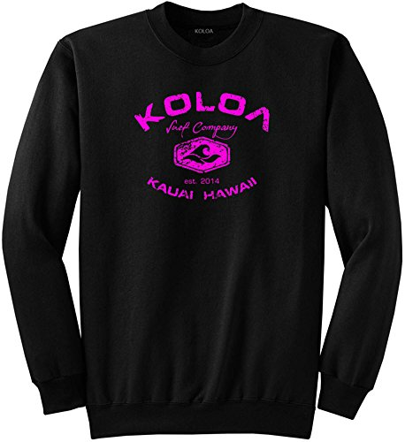Joe's USA Koloa(tm) Vintage Arch Logo Tall Crewneck Sweatshirt-Black/pink-3XLT (Tall Crewneck Sweatshirt)