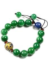 Elegant Imperial Golden Flying Dragon Green Jade Bracelet - Fortune Jade Jewelry