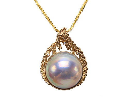 JYX 18K Gold Super-size 28mm Mabe Pearl Pendant Necklace