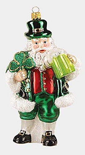 (Pinnacle Peak Trading Company Green Irish Santa with Clover and Beer Polish Glass Christmas Ornament Ireland)