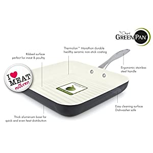 GreenPan Lima 3D I Love Meat & Poultry 11 Inch Hard Anodized Non-Stick Dishwasher Safe Ceramic Square Grill