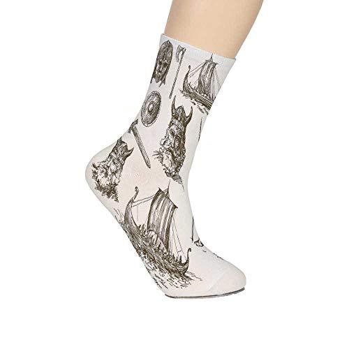 Ancient Warrior Sword - TecBillion Viking Soft Mid Calf Length Socks,Ancient War Figures Sword Shield and Warriors Mask Dragon Head Ship Medieval Socks for Men Women