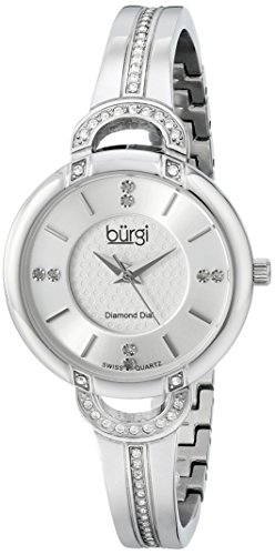 Burgi Women's BUR105SS Silver Swiss Quartz Watch with Silver Dial and Silver Crystal Accented Bracelet