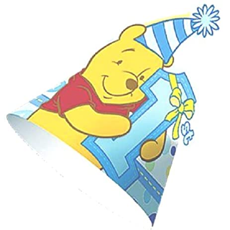 Winnie The Pooh 1st Birthday Boy Paper Party Hats 8ct Supplies