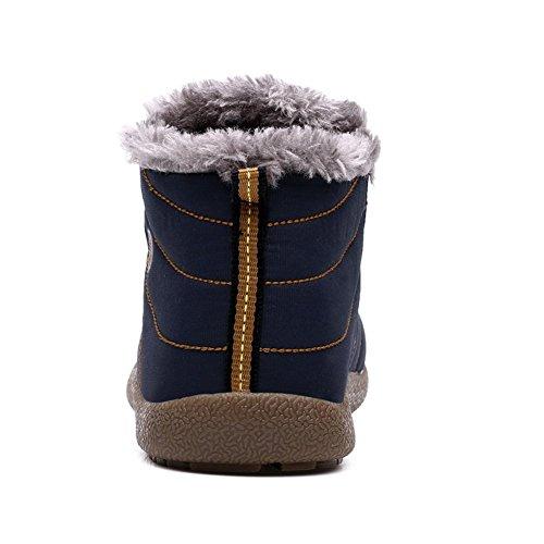 Go Tour Slip On Snow Boots Per Uomo Donna, Stivaletto Antiscivolo Leggero Alla Caviglia Con Completamente In Pelliccia Blu Navy