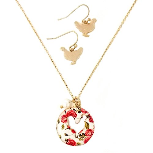 Emulily Floral Rooster Cutout Necklace Set with Pearl Charm Farm Animal (Worn ()