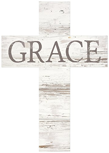 P. Graham Dunn Grace Rustic Whitewash 8.5 x 12 Solid Pine Wood Wall Hanging Cross
