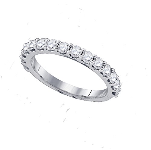 Jewels By Lux 14kt White Gold Womens Round Pave-set Diamond Single Row Wedding Band 1/4 Cttw Ring Size 7.5