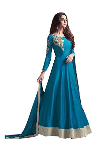 Fashions Trendz Indian Women Designer Partywear Ethnic Traditonal Peacock Blue Anarkali Salwar Kameez by Fashions Trendz