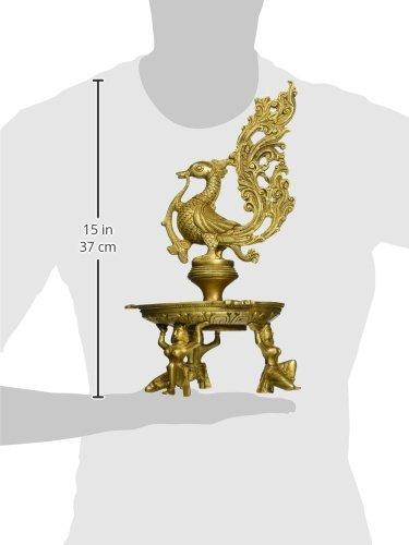 Peacock Lamp Brass Sculpture
