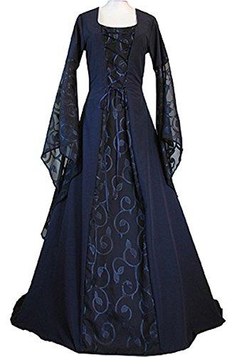 Womens Halloween Cosplay Costume Renaissance Medieval Irish Lace Over Dress Gothic (Plus Size Irish Costume)
