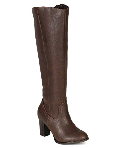 Breckelles BE77 Women Leatherette Chunky Heel Knee High Riding Boot - Brown Leatherette (Size: 7.0)