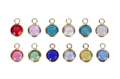 1 Set Mixed Birthstone Charms 6mm Austrian Crystal Beads 14k Gold Plated (12pcs) for Earrings Bracelet Necklace Jewelry Making CCP2-G