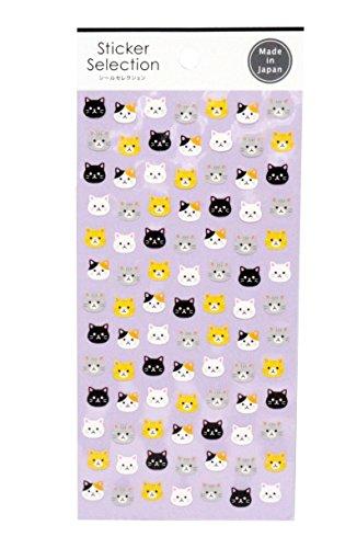 Multicolor Cat Kitty Neko Face Sticker Sheet Made in Japan]()