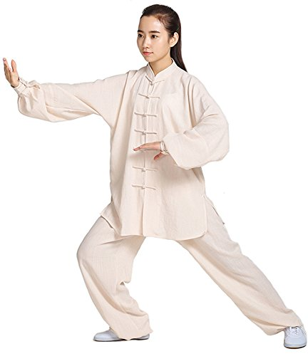 ZooBoo Unisex Womens Linen Kung Fu Tai Chi Uniform Martial Arts Wear (Beige, M)