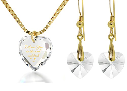 Crystal Tiny Heart Jewelry Set I Love You to the Moon and Back Necklace and Earrings, 18'' Gold Filled by Nano Jewelry