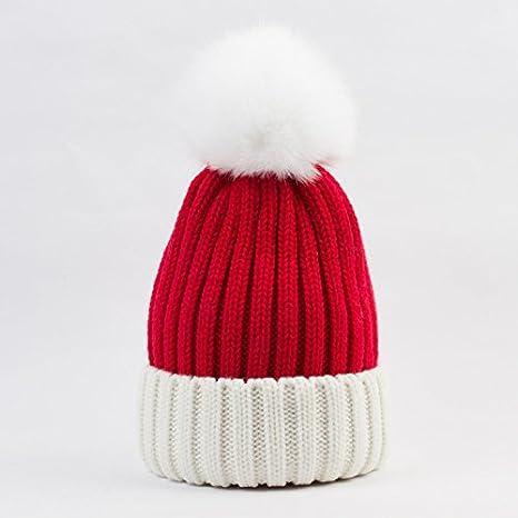 QETUOAD Invierno Beanie Hat Casual Hecho Punto Patchwork Skullies Gorros  con Sombreros de Pompon de Las Mujeres  8d729b7df01