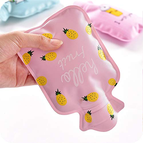 Hacoly Mini Hot Water Bottle Pocket Hot Water Bag Rubber Hottie Water Heating Bag for Pain Relief, Menstrual Cramps, Cold Winter Bed Warming Portable Reusable Therapy Heating Pad-Watermelon by Hacoly (Image #3)