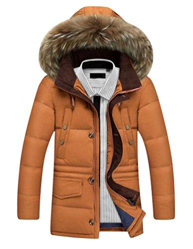 corto corto Cachi cerniera pelliccia di di Uomo giacche per da invernale con CHENGYANG giacche piumini cappuccio piumino 657qC7wn