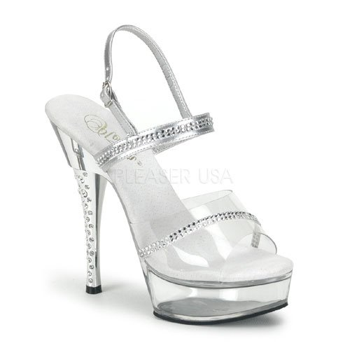 Pleaser Plateau sexy Größen 639 Sandalen Heels Diamond Silber High 9 2 der TfTAx6U