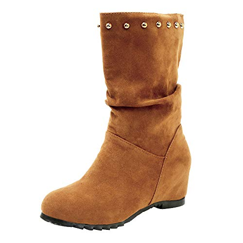 LandFox Comfortable, Wedges Shoes,Women Suede Round Toe Pure Color Booties Keep Warm Rivets Shoes Brown ()