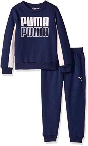 PUMA Little Girls' Pullover Fleece Set, Peacoat, 6X