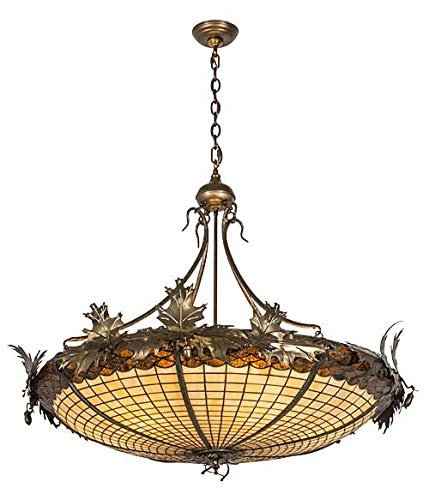Meyda Tiffany Custom Lighting 74006 Greenbriar Oak 6-Light Inverted Pendant, Antique Copper Finish with Ivory and Bark Brown Stained Glass - Billiard Glass Stained Lamp Custom